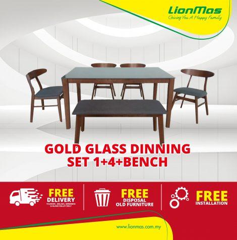 Gold Glass Dinning set 1+4+Bench