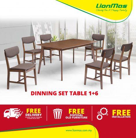 Solid Wood Dinning Set 1+6 Warm Design