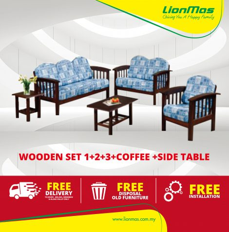Wooden Sofa set 1+2+3+ Coffee Table + Side Table