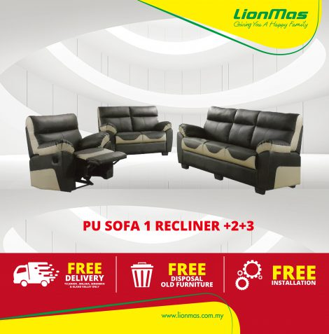 Comfy PU leather SOFA 1 RECLINER +2+3 Seater