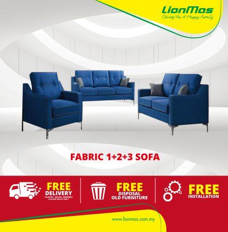 Navy Blue Fabric Sofa 1+2+3 seater